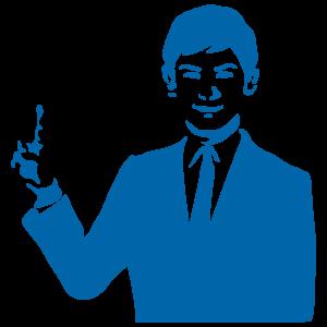 指を立てた男性講師のイラスト