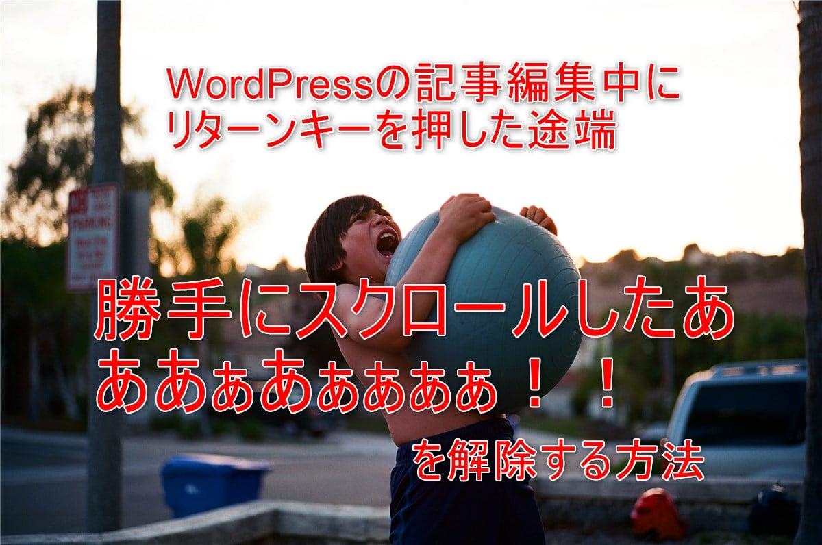 WordPressの編集中にリターンキーを押したら「勝手にスクロールしたああぁぁぁ!!」を解除する方法